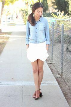 light skirt + denim shirt