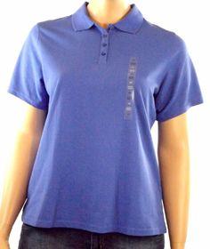 Karen Scott Women's Plus Sz 0X Short Sleeve Polo Shirt Persian Blue Cotton NWT #KarenScott #PoloShirt #Casual