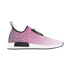 Ombre pink and white swirls doodles Women's Draco Running Shoes by @savousepate on @artsadd