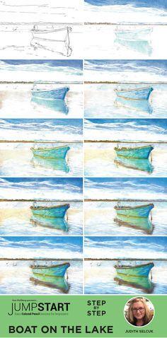 Colored Pencil Lessons, Colored Pencil Tutorial, Colored Pencils, Pencil Drawing Tutorials, Watercolour Tutorials, Art Tutorials, Drawing Ideas, Watercolor Pencil Art, Easy Watercolor