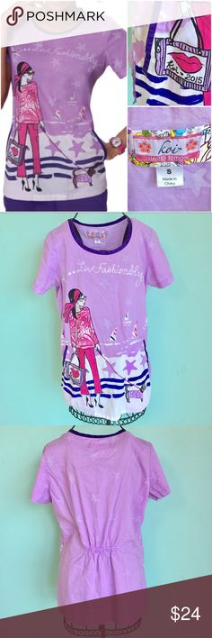 Koi Scrubs Limited Edition Live Fashionably... Limited edition Koi Scrubs. Preowned. Good Condition. Size Small. Check out my closet, bundle and give me your offer! koi Tops