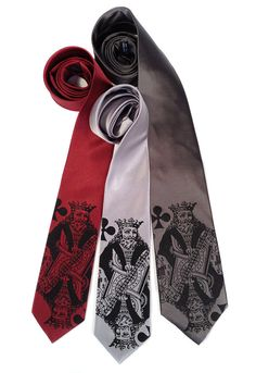 "King necktie. Playing card men's tie, king of clubs. ""Poker Face"" tie. Black screenprint. Your choice of tie colors and width.     King nec..."