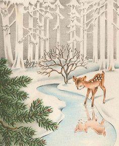 Very Merry Vintage Syle: Vintage Christmas Card {Vintage Deer in Snow Covered Woods}