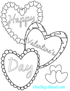 Happy Valentine's Day! Free kids' printable coloring sheet for Valentine's Day from One Step Ahead!