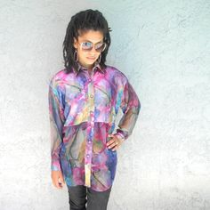 Seapunk Spring - Vintage 80s/90s Sheer Sleeved B-Girl/MC Hammer Purple/Pink Shirt/Blouse w/ Sheer Sleeves/midriff by Forenza - Size Small/S