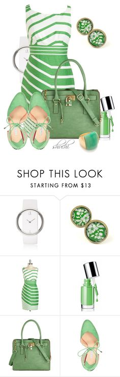 """""""A Fresh Direction"""" by shuchiu ❤ liked on Polyvore featuring Calvin Klein, Clinique, Melie Bianco, Bionda Castana, Kenneth Jay Lane, mint green, white watches, stone rings, striped dresses and mint shoes"""