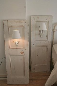 Sconses added to old door or shutters for nightstands. Dishfunctional Designs: New Takes On Old Doors: Salvaged Doors Repurposed House Design, Shabby Chic, Home Projects, Interior, Diy Furniture, Doors Repurposed, Home Improvement, Home Decor, Home Diy