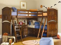 Optional Kids Bunk beds For Your Kids Room: Corner Bunk Bed Design With Stairs For Kids Bedroom Ideas