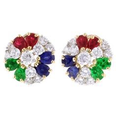 Oscar Heyman Precious Gem Diamond Gold Platinum Earrings