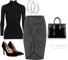 Chic Professional Woman Work Outfit. Steal this! Work outfit ideas - skirt and sweater   THE REFINERY