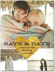 Gilded Heart - Save the Date Postcards - Jenny Romanski - Black : Front