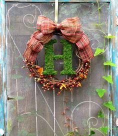 Fall moss covered monogrammed wreath by CLMahler on Etsy, $57.50