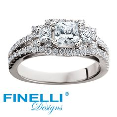 Three stone princess cut ring. Made even more special with the addition of the halo and split shank. Engagement ring by Finelli. #engagementrings