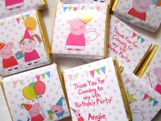 Personalised Chocolates PEPPA PIG themed party favour  birthday pack of 25