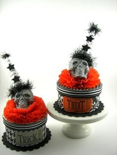 Halloween Spooky Skull Boxes Trick & Treat by SparkleLovesWhimsey, $18.00