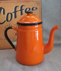 Orange and Black Retro Enamel Coffee Pot by dewdropdaisies, $28.00