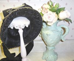 Antique Victorian Ladies straw Hat Bonnet Civil War Era great lg. bows~ shirring in Clothing, Shoes & Accessories, Vintage, Women's Vintage Clothing, Pre-1901 (Victorian & Older) | eBay