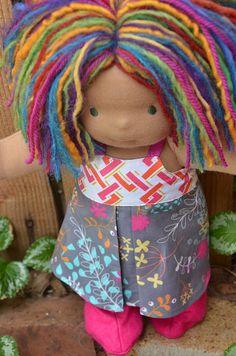"I love this rainbow bobbed girl!  Tara is a 15"" Bamboletta.  Her hair is a mixture of mohair and wool yarns and dreadlocks."