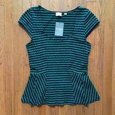 Anthropologie Sweetheart Peplum Top Beautiful navy and green peplum top by Postmark for Anthropologie. New with tags! Gorgeous neckline  cotton, polyester and spandex Anthropologie Tops