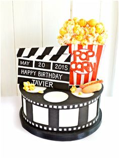 Hollywood Movie Themed Birthday Party Cake with Sugar Popcorn, Film Roll, Clapboard and Hotdog Cherie Kelly London: