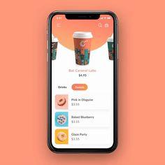 Mobile Application Design, Mobile Ui Design, App Ui Design, Menu Design, Interface Design, R Cafe, Cafe Food, Drink App, App Design Inspiration