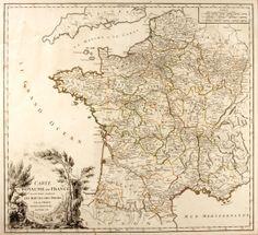 Robert de Vaugondy (1688-1766). Carte du Royaume de France... 1758. Engraved by Marie Catherine Haussard. France, 1758.