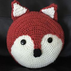 Items similar to Handmade crochet fox small round cushion - made to order on Etsy Crochet Cushion Cover, Crochet Pillow Pattern, Crochet Cushions, Crochet Toys Patterns, Applique Patterns, Crochet Elephant, Crochet Fox, Love Crochet, Crochet Animals