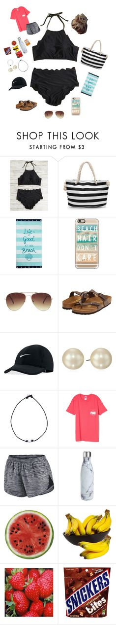 """""""Beach Day Contest 🦀🐠🐬"""" by liblu13 ❤ liked on Polyvore featuring Lexington, Casetify, Forever 21, Birkenstock, NIKE, Carolee, S'well and Round Towel Co."""