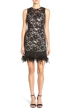 Soloiste Feather Hem Lace Body-Con Dress available at #Nordstrom