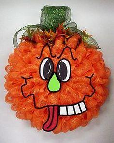 fall mesh wreaths | Fall Halloween Pumpkin Deco Mesh Wreath | eBay