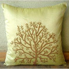 Beaded tree pillow