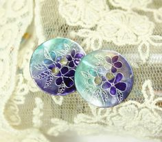 Shell Buttons  Rich Luster Purple and Teal Blue Flower by Lyanwood, $5.50
