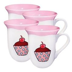 Polka Dot Cupcake Mugs in Pink.