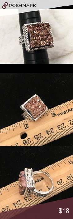 Silver & Rose Gold Druzy Ring Sz 6 The color is a little dark in the first pic. The ruler pics are closer to the right shade. Costume Jewelry Jewelry Rings