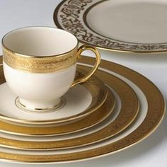Your table will take center stage with Lenox Westchester.  Known for its lavish 24 karat gold border, this pattern was introduced in 1915 with a traditional elegance that has proven the test of time. Crafted of ivory fine bone china, it is also dishwasher safe and made in the USA.  Set includes dinner plate, salad plate, bread plate, cup, and saucer.