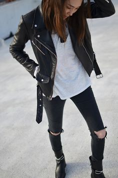 black & white, leather biker jacket,ripped skinny jeans, white tee, ankle boots