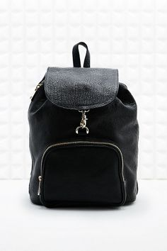 Out From Under Leather Clip-Front Backpack in Black