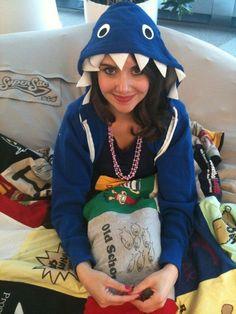 DIY shark costume-grey hoodie, cut out teeth and eyes from felt and glue on. Cute grey dress maybe under zipper hoodie