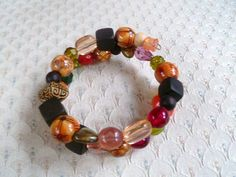 Beaded Memory Wire Bracelet in Mediterranean by mulberrymoosetoo, $8.00
