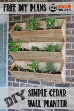 DIY Simple Cedar Wall Planter | Free Plans at RogueEngineer.com