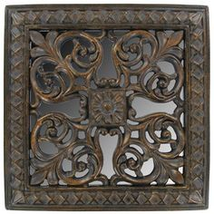 """Elegantly enhance home or officedécorwith this Antique Gold Square Wall Plaque & Mirror with Swirl Design.    Made to hang on the wall, thispolyresin plaque and mirror decorative piece measures approximately 7 3/8"""" x 1/2"""" x 7 3/8""""."""