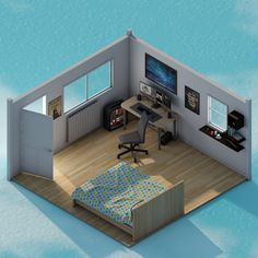 Gaming Room Setup, Pc Setup, Bedroom Setup, Video Game Rooms, Kawaii Room, Isometric Design, Game Room Design, Modelos 3d, Dream Rooms
