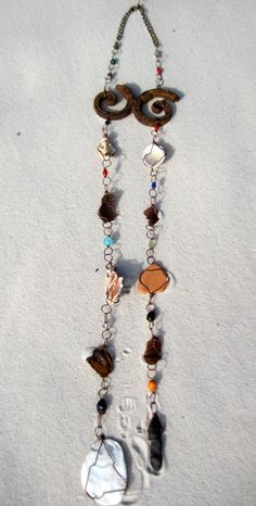 Sea glass suncatcher with shells and sea glass by MSRoriginaldesigns