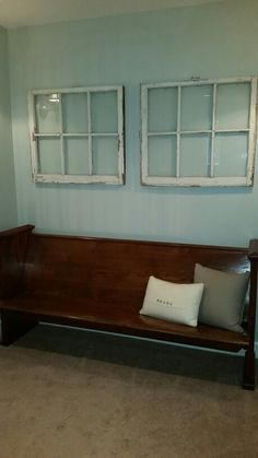 Antique Church Pew From A Biloxi, MS Baptist Church. Window Panes From A  Local Antique Store. Throw Pillows From Bassett Furniture.