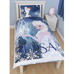 Disney Frozen Elsa Reversible Duvet Set - A great bedding set for any fans bedroom - This quilt cover is half cotton and half polyester.