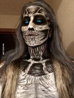 She spent hours on her makeup for her costume this year.