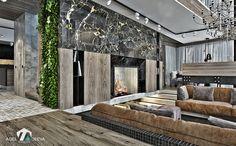 дизайн гостиной в загородном доме, камин, вертикальное озеленение, барная стойка, мягкая зона, black metall, wood, marble black& gold, camel& plum color     www.ageev-ageeva.com