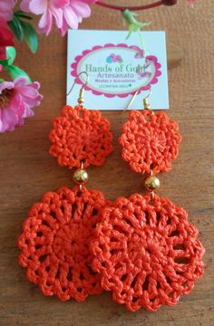 Peach crochet earrings handmade peachy pink with pink stone fashion Crochet Jewelry Patterns, Crochet Earrings Pattern, Crochet Accessories, Crochet Motif, Diy Crochet, Crochet Designs, Crochet Crafts, Hand Crochet, Crochet Flowers