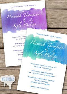 Watercolor Printable Wedding Invitation, Turquoise Blue, Amethyst Purple, or request a custom color!