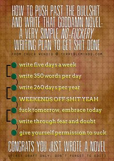 I make myself write at least 1,000 words a day. Chuck's only asking 350 of you. No excuses. Write that book!